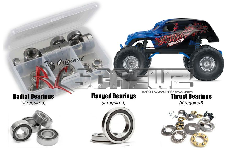 RCScrewZ Traxxas Skully Monster Truck Rubber Shielded Bearing Kit #tra057r by RCScrewZ