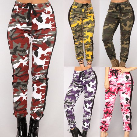 Womens Casual Slim Fit Closed-Bottom Drawstring Side Stripe Camouflage Jogger Camo Cargo Pants - Pink And Purple Striped Leggings