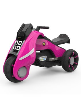 HOVER HEART Ride-On Toy 6V/4.5Ah Front LED 3 Wheels Motorcycle Tricycle for Kids (Pink)