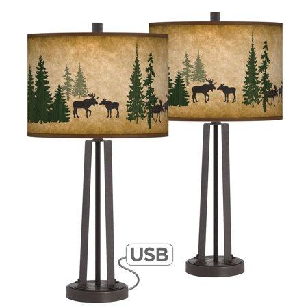 Giclee Glow Moose Lodge Susan Dark Bronze USB Table Lamps Set of (Moose Silhouette Table Lamp)