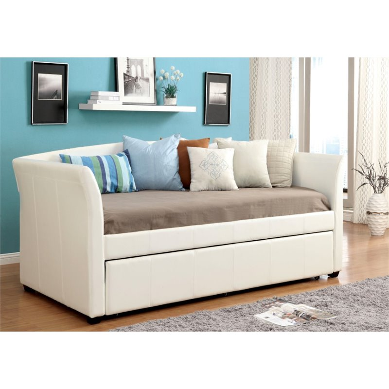 Furniture of America Allisa Faux Leather Daybed with Trundle in White