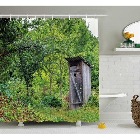 Outhouse Shower Curtain Worn Out Cottage Hut In Abandoned Forest Spring Time Vivid Decor Image