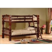 Twin Over Twin Bunk Bed in Cherry Finish