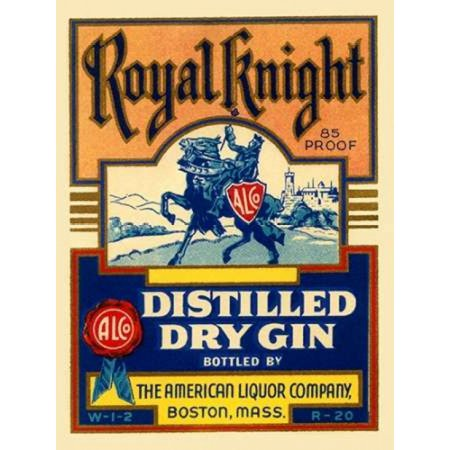Royal Knight Distilled Dry Gin Poster Print by Vintage Booze Labels (Vintage Dry Gin)