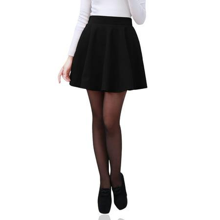3de550f86285 Unique Bargains - New Black High Waist Winter Casual Pleated Tweed Skater  Skirt for Ladies XS - Walmart.com