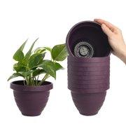 "HC Companies (10 Pack) 6"" Outdoor Indoor Self Watering Planters: Plastic Planter Pots, Urn Planter Set For Flower Pots, Herb Planter, Garden Planters"