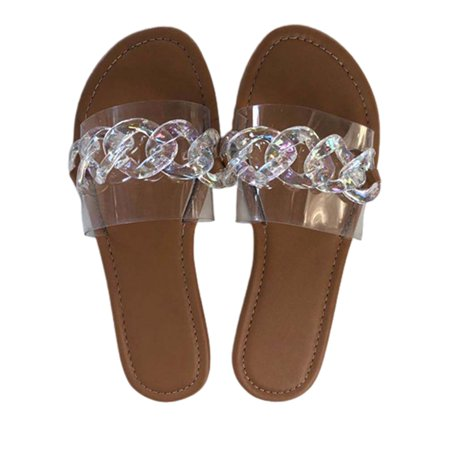 Women's Mules Slides Sandals Chain Clear Upper Flat Slippers Shoes Beach Trendy