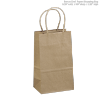 """5.25""""x3.25""""x8"""" - 100 pcs - Natural Brown Kraft Paper Bags, Shopping, Mechandise, Party, Gift Bags"""
