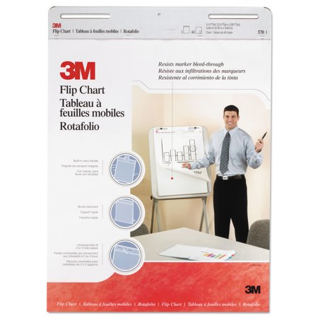 3M Professional Flip Chart Pad  Unruled  25  X 30   White  40 Sheets Pad  2 Count