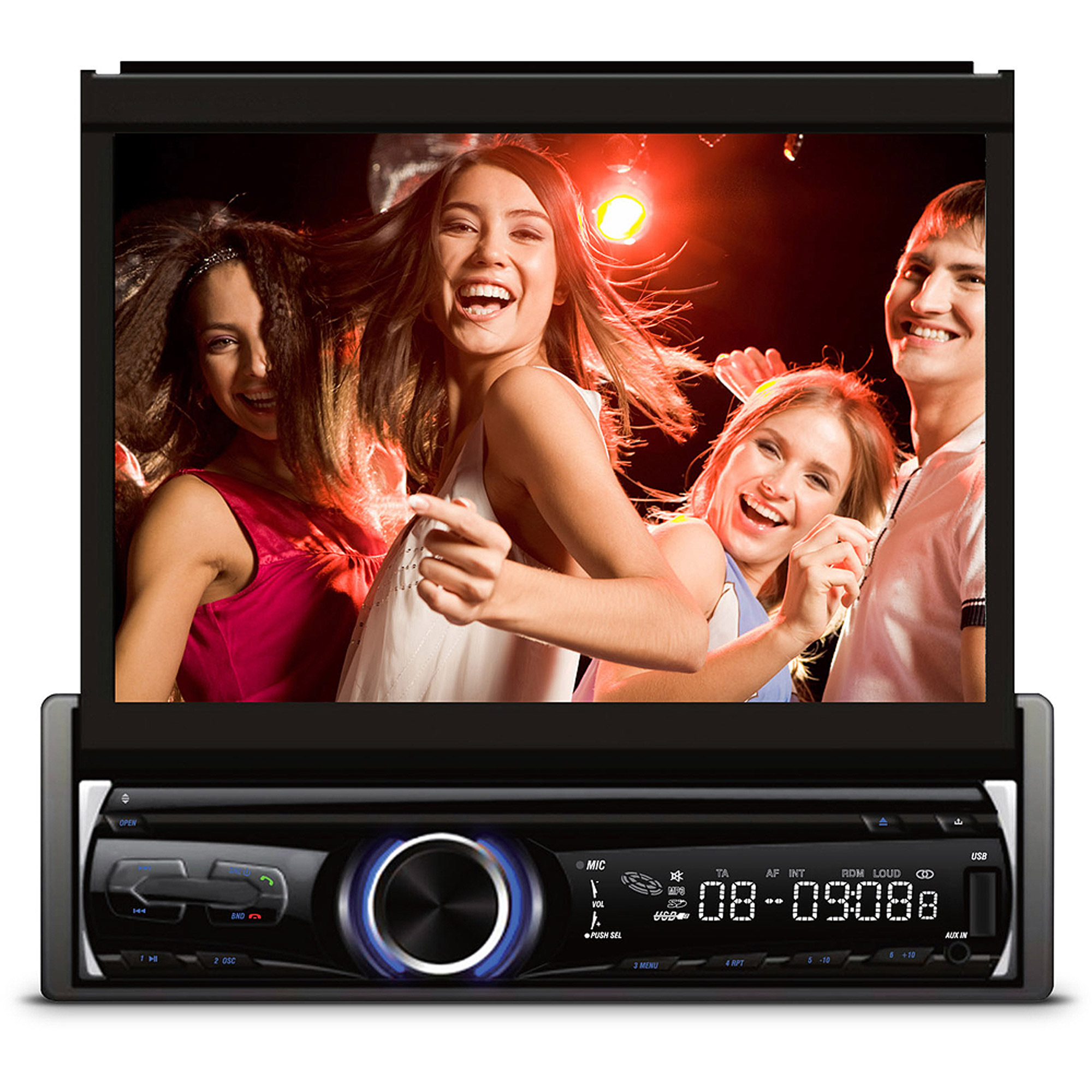 """XO Vision 7"""" In-Dash Touchscreen DVD Receiver with Front USB and AV Inputs"""