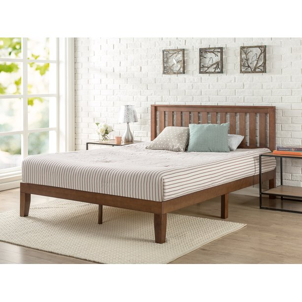 "Zinus Vivek 37"" Solid Wood Platform Bed with Headboard, Antique Espresso, Queen"