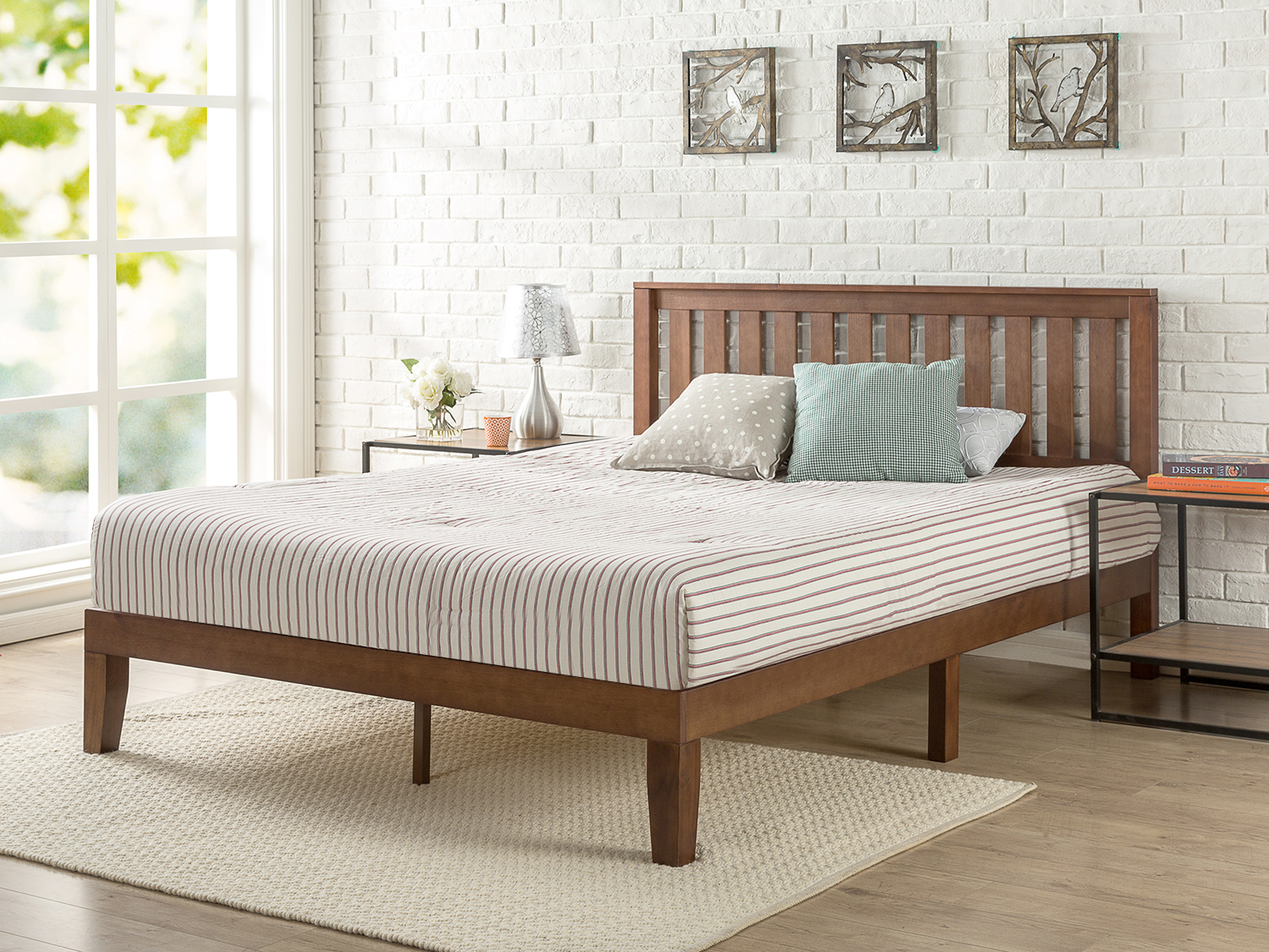 zinus queen 12 inch solid wood platform bed with headboard product variants selector price