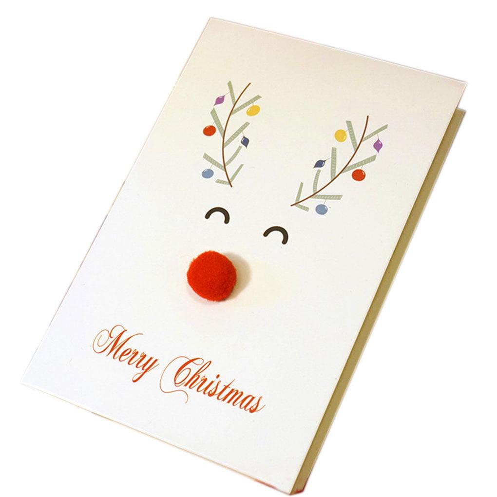homeholiday unique merry xmas 3d cartoon animal card happy
