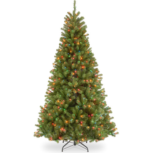 National Tree Pre-Lit 7-1/2' North Valley Spruce Hinged Artificial Christmas Tree with 550 Multi Lights