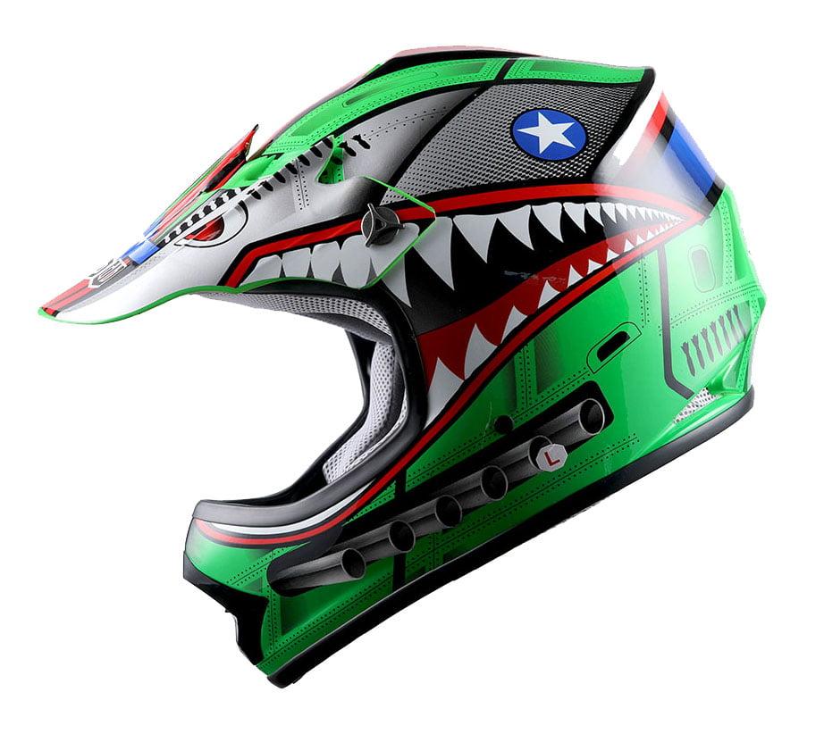 Wow Youth Kids Motocross Helmet Bmx Mx Atv Dirt Bike Hboy K Shark Green Walmart Com Walmart Com