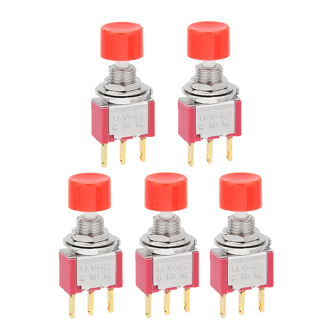 5pcs AC 125V 1A NO + NC Push Button Toggle Switch Momentary w Cap