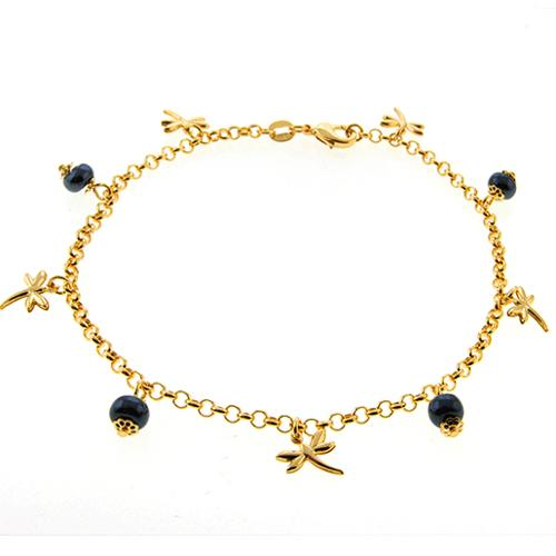 """Stunning 10"""" Gold Color Ankle Bracelet with Dragonfly Charms and Beads"""