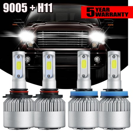 GTP 2 Pair Combo 9005+H11 LED Headlight Bulb High Low Beam Kit 6000K White 32000LM For 07-18 Chevy Silverado 1500