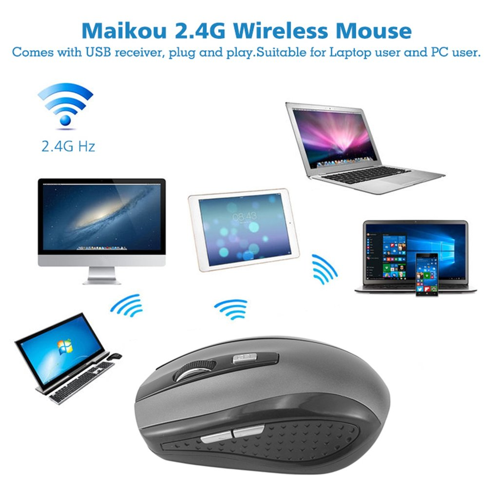 Maikou 2.4G Wireless Mouse with USB Receiver 3 Buttons Fashion Wireless Optical Mouse Mice for Laptop PC Gaming Mouse