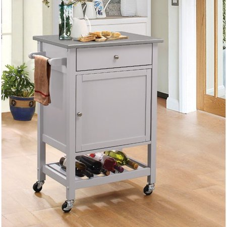 Charlton Home Rodger Kitchen Cart with Stainless Steel Top