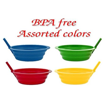 - Green Direct Sippy Bowl 22 oz. Plastic Breakfast Bowl with Built in Straw for Kids Assorted Colors Blue-Red-Green-Yellow Pack of 4