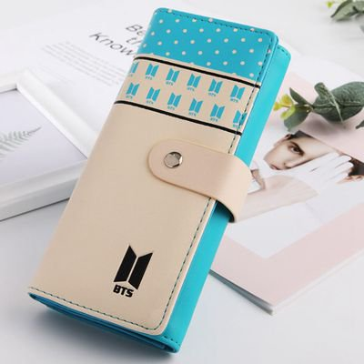 Fancyleo Kpop BTS Love Yourself PU Long Wallet for Girls Womens Bifold Wallet Money Card Holder Fashion Clutch Purse Blue Bi Fold Wallet