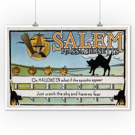 Salem, Massachusetts - Halloween Greeting - Cat on Fence - Vintage Artwork (9x12 Art Print, Wall Decor Travel Poster)