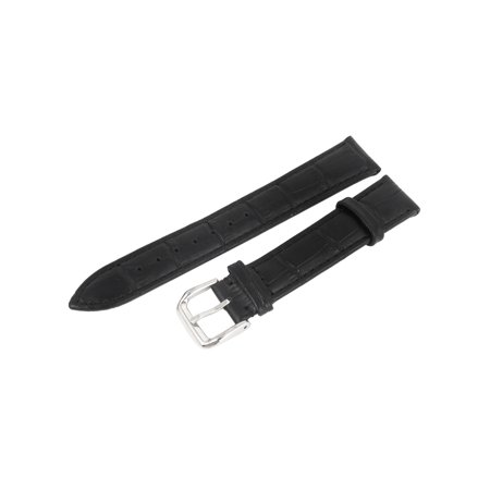 - Black Faux Leather Shiny Finish Wristwatch Strap Band Replacement 18mm