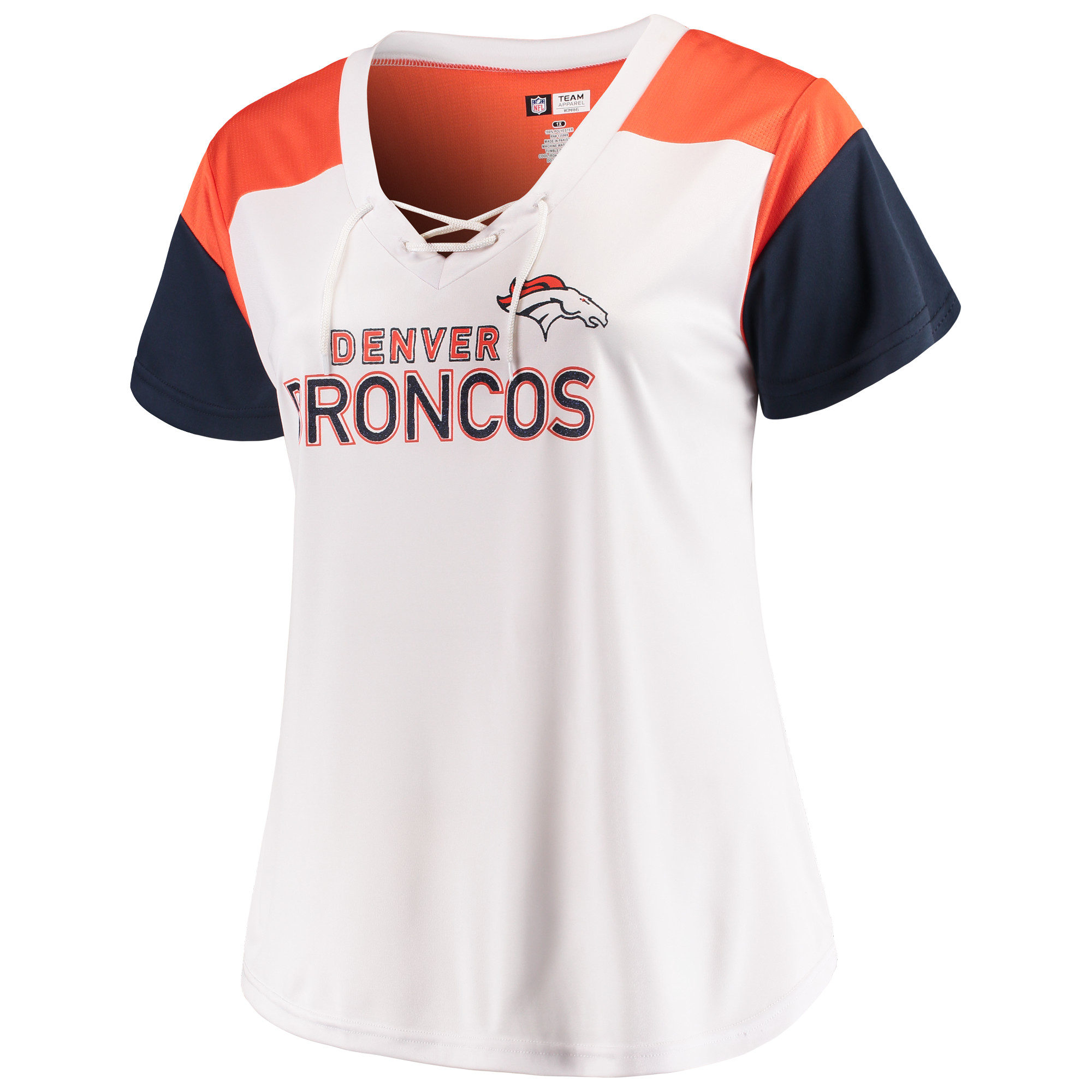Women's Majestic White/Navy Denver Broncos Lace-Up V-Neck T-Shirt