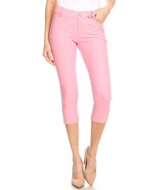 Women's Cotton Blend Capri Jeggings Stretchy Skinny Pants Jeans Leggings