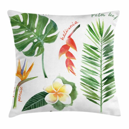 Plant Throw Pillow Cushion Cover, Bird of Paradise Palm Leaf and Assorted Exotic Flowers Watercolor, Decorative Square Accent Pillow Case, 18 X 18 Inches, Coral Earth Yellow Fern Green, by Ambesonne Bird Of Paradise Cover