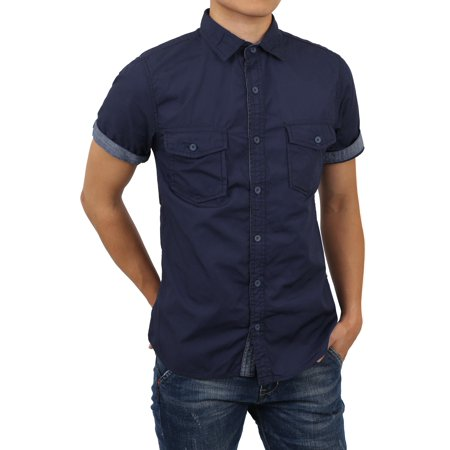 bb44ede7041 Ma Croix - Mens Roll Up Sleeve Collar Button Down Chambray Striped Short  Long Sleeve Casual Shirt - Walmart.com