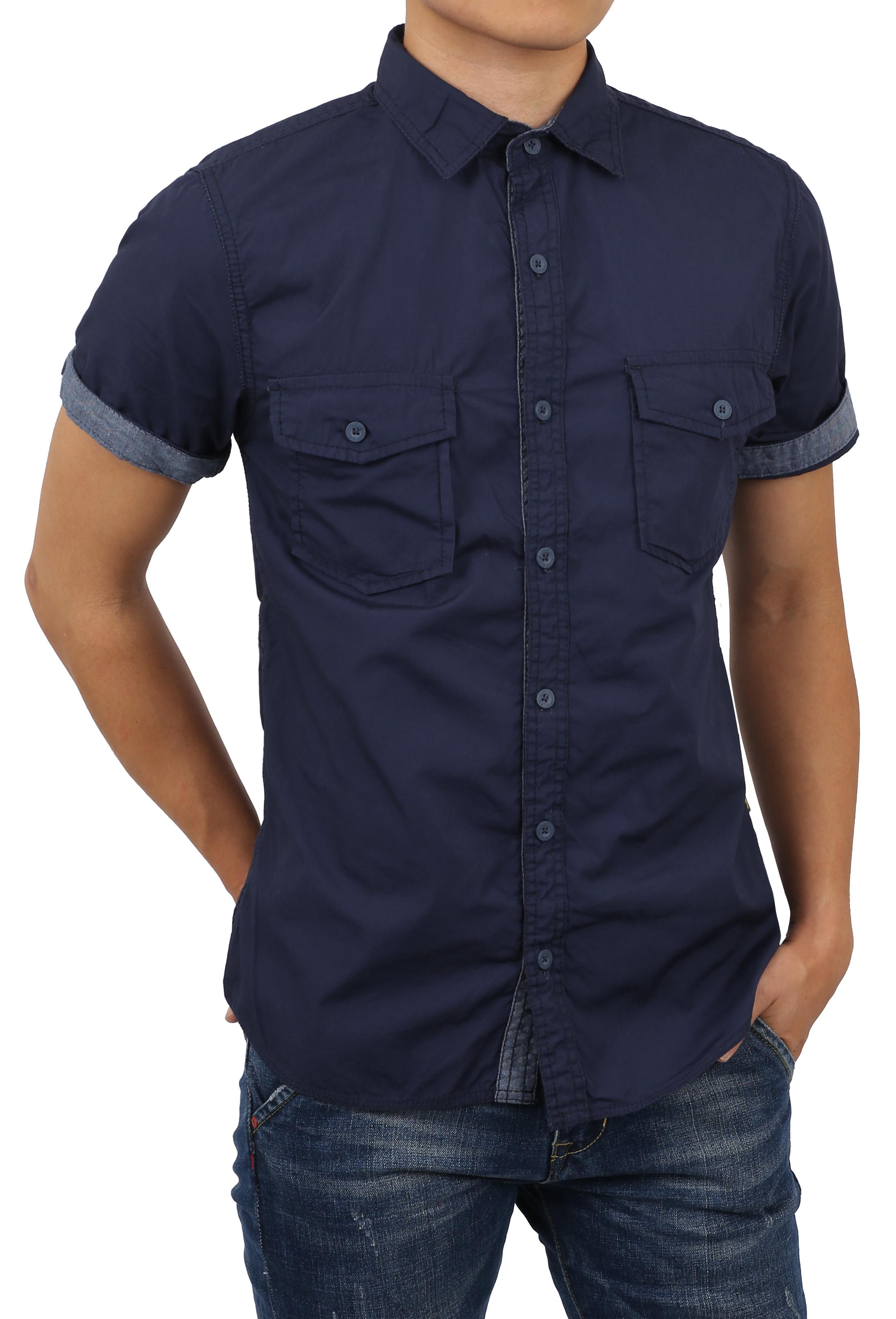 Mens Roll Up Sleeve Collar Button Down Chambray Striped Short Long Sleeve Casual Shirt
