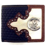 Western Genuine Woven Leather Metal Horse Cowhide Mens Bifold Short Wallet