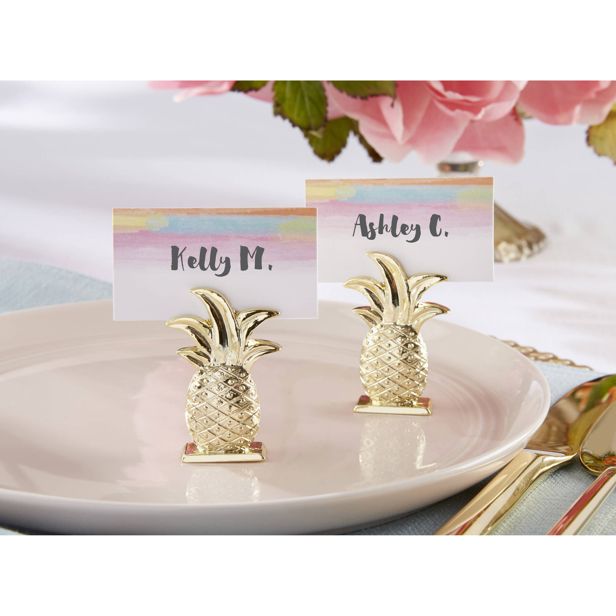 Gold Pineapple Place Card Holders, Set of 6