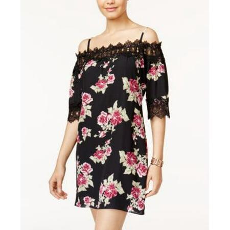 Juniors A. Byer Cold Shoulder Crochet Hem Dress L, Black