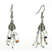Zakali Creations Maasai Beaded Spike Earrings, White