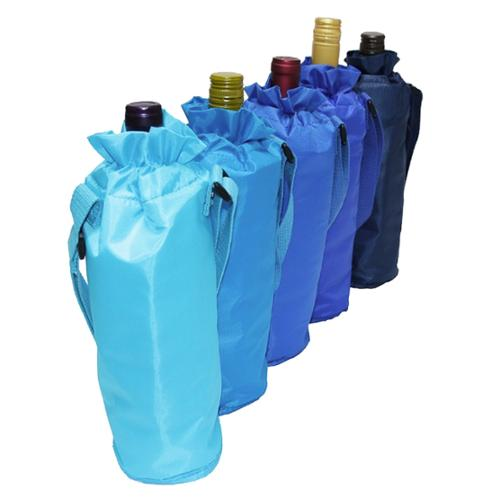 Set of 5 Sachi Insulated Single Wine Bottle Bag Multi Colored Drawstring Tote Carrier Byob Blue