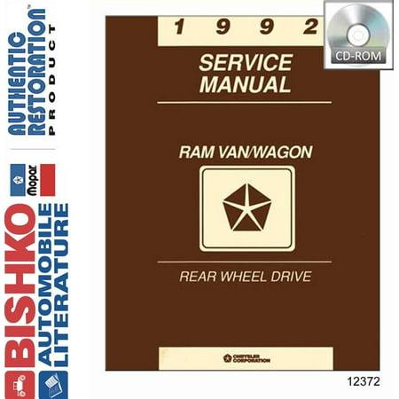 Bishko OEM Digital Repair Maintenance Shop Manual CD for Dodge Truck Ram Van, Wagon 1992 ()