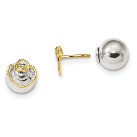 925 Sterling Silver Gold Tone Knotted Hearts Front Back Post Stud Earrings Ball Button Love Fine Jewelry For Women Gifts For Her - image 1 of 5