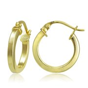 Gold Tone over Sterling Silver Square High Polished Hoop Earrings