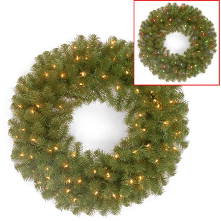"National Tree Pre-Lit 24"" North Valley Spruce Wreath with 50 Battery-Operated Dual LED Lights"