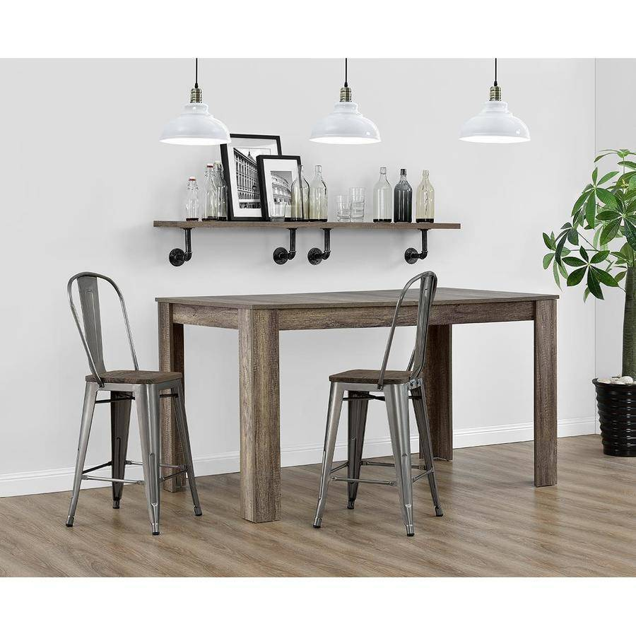 Dorel Home Products Luxor 24  Metal Counter Stool with Wood Seat Set of 2  sc 1 st  Walmart & Dorel Home Products Luxor 24