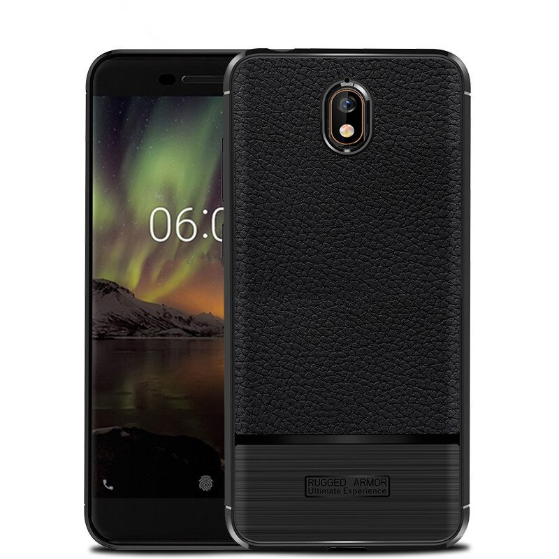 "Phone Case for NOKIA 3.1 (5.2""), Nokia 3.1 Case (TA-1049) Brush with Leather-Textured Slim-Flex Gel Cover (Brush Flex Gel Black)"