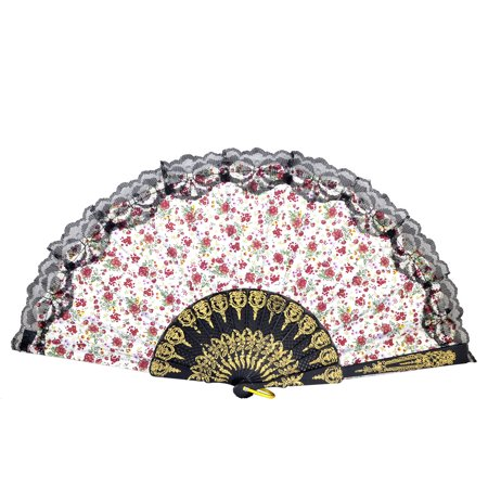 Gold Tone Carved Pattern Plastic Ribs Red Flower Print Folding Hand Fan - image 1 of 1