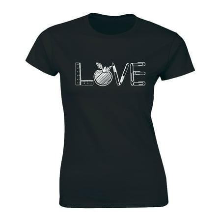 Teachers Love Apples Inspire Fruit School Supplies Team Teacher Women T-Shirt Womens Team Love T-shirt