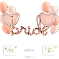 Andaz Press Rose Gold Bridal Shower Party Balloon Bouquet Set, Bachelorette Party Supplies, Inflatable Script Letter