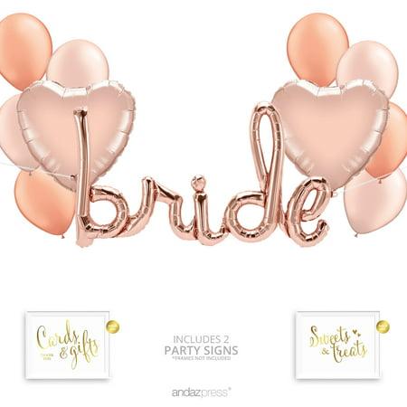 Bachelorette Party Balloons (Andaz Press Rose Gold Bridal Shower Party Balloon Bouquet Set, Bachelorette Party Supplies, Inflatable Script)