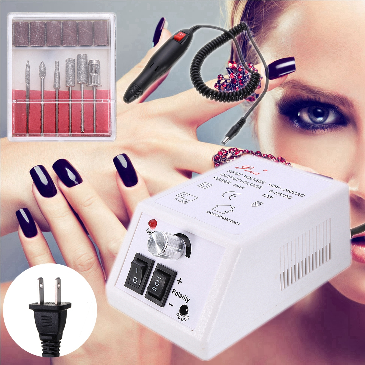 New Professional Electric Nail File Acrylic Manicure Drill Sand Machine Kit 110V