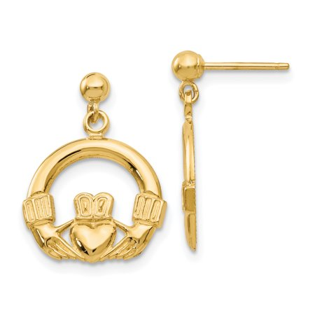 14k Dangling Claddagh Post (Birthstone Claddagh Earrings)